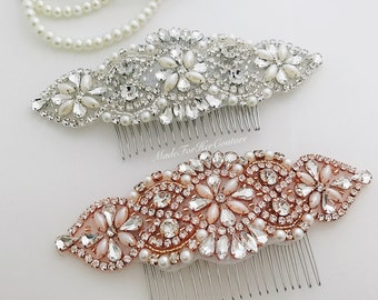 Rose Gold Wedding Hair Comb, Rhinestone Wedding Hair Comb, Bridal Hair Accessories, Pearl Crystal Hair Comb, Bridal Pearl Crystal Head Piece