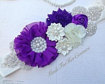 Purple Wedding Sash, Maternity Sash, ivory purple wedding belt Sash, bridal sash/belt, Bridal Belt, Satin Ribbon Sash, Bridesmaid Sash/Belt