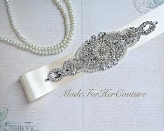 Ivory Wedding sash-Ivory wedding Belt-Pearl Crystal Sash-Rhinestone belt sash-Ivory Bridal Belt- Ivory Bridal Sash