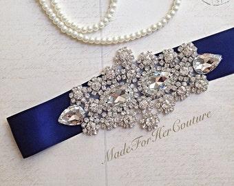 Crystal Wedding sash-navy Blue wedding sash-wedding Sash Belt-Pearl Crystal Sash-Rhinestone belt sash-Bridal Belt Navy-Bridal Sash