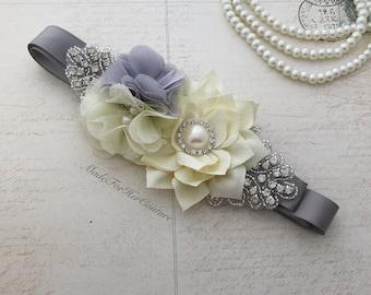 Gray Sash belt, gray ivory flower girl Sash, bridal sash, Bridal Belt, Flower girl belt, Bridesmaid Sash/Belt, Maternity Sash/belt