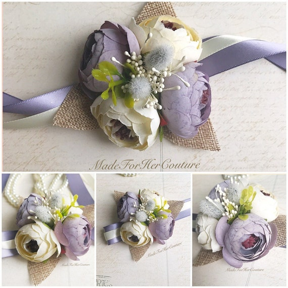 Rustic Purple Corsages, Wrist Flower, Wrist Corsage, Wedding Corsage, purple ivory Corsage, Rustic Corsage, Wedding Wrist Band, Wedding