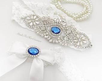 White Wedding Garter, White Lace Garter Belt, Royal Blue Garter Set, Crystal Pearl Garter, Vintage Wedding Garter Belt-Something Blue