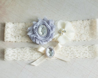 Wedding Garter Set Gray, Bridal Garter Set, Pearl and Rhinestone garter set, Lace Garter, Pearl Crystal Garter Set, Vintage Garter