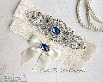 Royal Blue Wedding Garter, Bridal Garter Set, Blue Garter Set, Crystal Pearl Garter, Vintage Garter, Wedding Garter Belt-Something Blue