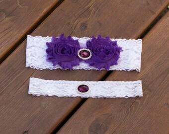 Sale Purple Garter Set, Wedding Garter Set, Bridal Garter Set, Lace Garter, Crystal Garter Set, toss garter, vintage inspired, toss garter