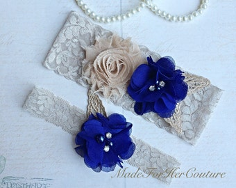 Nude Wedding Garter-vintage Lace Garter-Bridal Garter-Royal Blue Garter, champagne bridal garter, rustic Garter-vintage wedding- Lace Garter