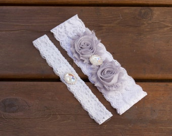 Grey Lace garter set, Wedding Garter Set, Bridal Garter Set, Lace Garter, White lace Garter Set, toss garter, vintage inspired, toss garter