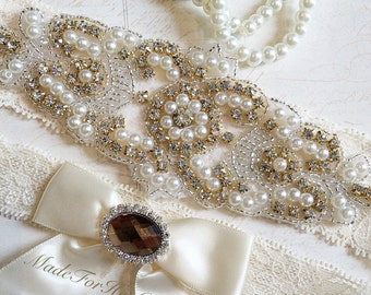 Gold Wedding Garter, Bridal Garter Set, Gold Garter Set, Crystal Pearl Garter, Vintage Garter, Wedding Garter Belt- Gold Bridal Garter set