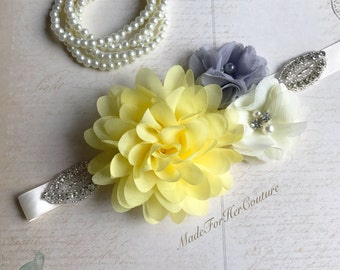 Gray Yellow flower sash, Gray Yellow flower wedding belt, gray yellow bridal bridesmaid flower girl sash belt, more colors available