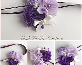 Purple Corsages, Wrist Flower, Wrist Corsage, Wedding Corsage, purple ivory Corsage, White Corsage, Wedding Wrist Band, Wedding corsage