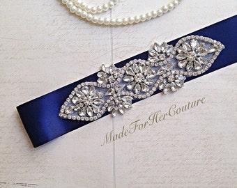 Crystal Wedding sash-wedding Sash Belt-Crystal Sash-Rhinestone belt sash-Bridal Belt navy-Bridal Sash-Navy Blue wedding Sash