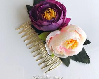Bridal Flower Comb, Boho Flower Comb, Flower comb, Flower Headpiece, Purple Flower Comb , Tea Roses Headpiece, Plum   Flower comb