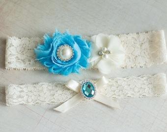 Aqua Garter Set, Something Blue Garter, Wedding Garter Belt Set, Bridal Garter Belt Set, Stretch Lace Garter,