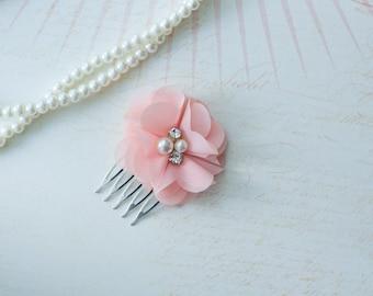 Wedding Headpiece,Bridesmaid gifts, Bridesmaid Head piece, Bridal Head piece, Peach Hair Comb,Wedding Hair comb, Bridal Barrette,