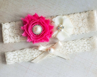 Bridal Garter Set, Hot Pink Garter Set, Wedding Garter Set, garter set, Rhinestone Lace Garter, Pearl Crystal Garter Set, Vintage Garter Set