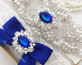 Royal Blue Wedding Garter, Bridal Garter Set, Blue Garter Set, Crystal Pearl Garter, Vintage Garter, Wedding Garter-Something Blue,