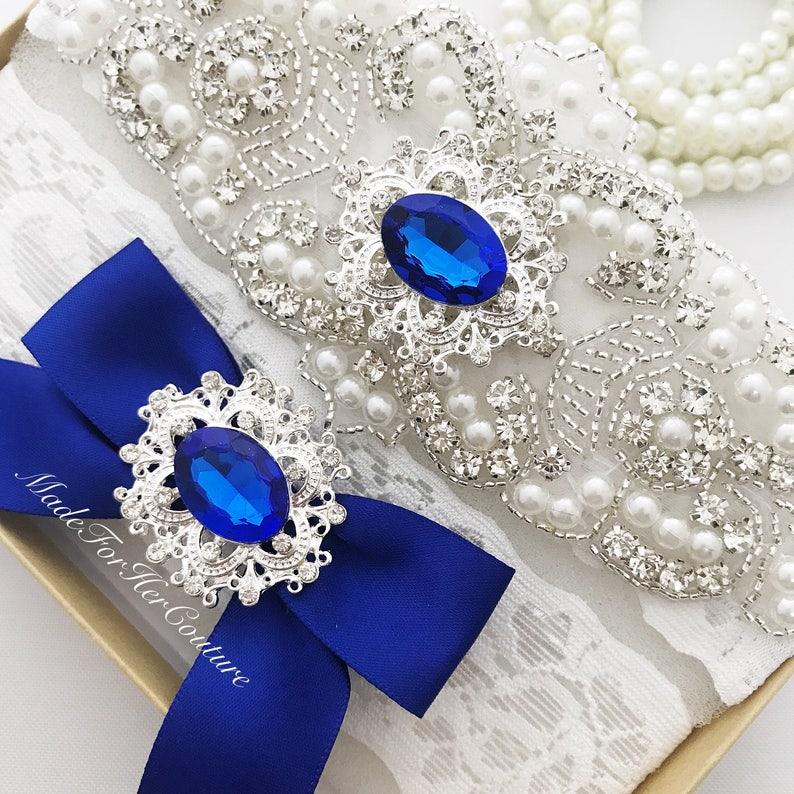 cc9d22f4f Royal Blue Wedding Garter Bridal Garter Set Blue Garter Set