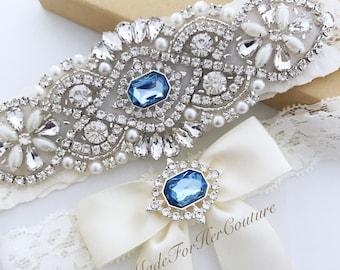 Something Blue garter set, Light Blue Wedding Garter, Baby Blue Bridal Garter Set, baby blue wedding Garter Set, light blue bridal garter