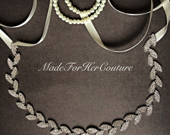 Rhinestone chain sash, Rhinestone bridal sash, Chain trim, bridal belt, leaf rhinestone bridal belt, wedding chain sash, wedding belt,