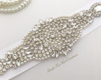 Wedding Belt, Wedding Sash, Sashes and Belts, Bridal Belt, Bridal Sash, White wedding dress sash, white bridal belt sash, pearl sash belt,