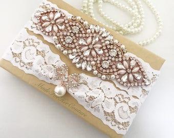 Rose Gold Wedding Garter, Rose Gold Bridal Garter Set, Rose Gold Garter Set, white lace rose gold garter, Wedding Garter Belt- garter sets