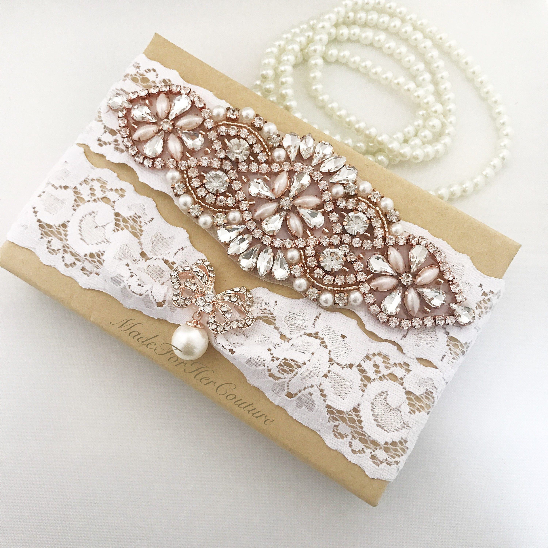 8ed0374f885 Rose Gold Wedding Garter Rose Gold Bridal Garter Set Rose | Etsy