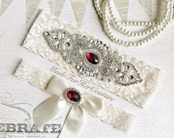 Red Wedding Garter, Bridal Garter Set, Red Garter Set, Crystal Pearl Garter, Vintage Garter, Wedding Garter Belt- Christmas Wedding Garter