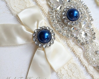 Royal Blue Wedding Garter, Royal Blue Bridal Garter Set, Stretch Lace Garter, Crystal Pearl Garter, Vintage Garter, Wedding Garter Belt-