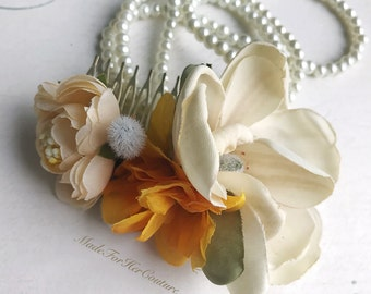 Bridal Flower Comb, Boho Flower Comb, Flower comb, Flower Headpiece, Yellow Flower Comb , Tea Roses Headpiece, Champagne Flower comb