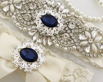 Navy wedding garter, navy bridal garter, wedding garter, bridal garter, navy blue wedding garter set, navy blue bridal garter set