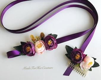 Plum flower sash, purple flower sash, flower sash, flower belt, bridal purple sash, wedding purple flower sash, wedding sash belt, boho sash