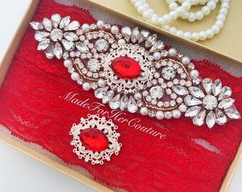 Red Wedding Garter, Bridal Garter Set, Red Garter Set, Red Lace Rose Gold Wedding Garter, Vintage Garter, Wedding Garter Belt-