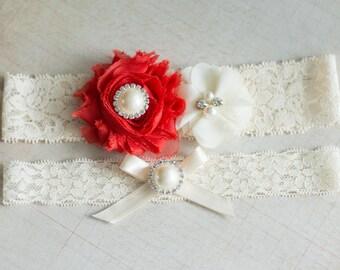 Red Bridal Garter Set,Wedding Garter Set, garter set, Rhinestone Lace Garter, Pearl Crystal Garter Set, Vintage bridal garter set