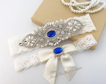 Royal Blue Wedding Garter, Bridal Garter Set, Rhinestone Garter Set, Ivory Garter Set, Pearl Garter, Wedding Garter Belt-Something Blue