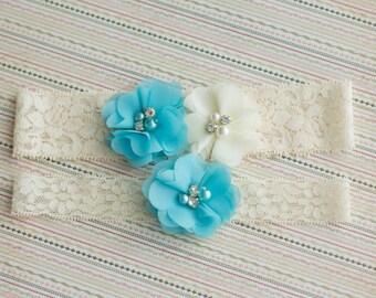 Blue Wedding Garter Set, Bridal Garter, something blue, chiffon garter set, Bridal Garter Set, Stretch Lace Ivory Garter, Blue Garter Set,