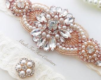 Wedding Garter Rose Gold, Bridal Garter Rose Gold, Rose Gold Garter Set, rose gold garters, Wedding Garter Belt Rose Gold