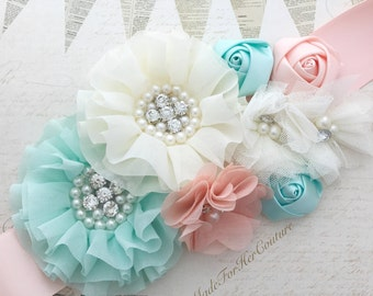 Mint Peach & Ivory Flower Sash, Wedding Sash, Bridal Flower Sash Belt, Maternity Sash, Maternity Belt,  Maternity Dress Sash, Rustic Sash