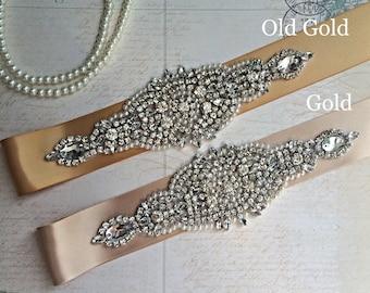 Wedding dress sash-wedding Sash Belt-Pearl Crystal Sash-Rhinestone belt sash-Bridal Belt Gold-Bridal Sash-Gold wedding Sash-Gold Bridal Belt