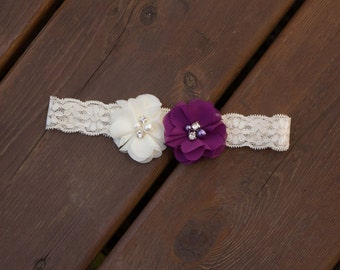 Wedding Garter,Single Bridal Garter, Single Lace Garter,Single,Flower Garter,Chiffon Flower Garter,Lace Wedding Garter,Purple Wedding Garter