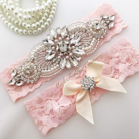 Bridal GarterIvory Wedding GarterBlush Pink Wedding Garter Blush Bridal Garter Wedding Garters Flower Garter Pink Lace Garter Bridal