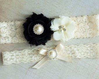 Black Wedding Garter Set, Bridal Garter Set, Black Ivory Garter Set, Rhinestone Lace Garter, Pearl Crystal Garter, Stretch Lace Garter Set
