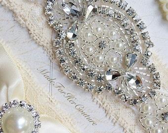 Ivory Wedding Garter, Ivory Bridal Garter, Stretch Lace Garter, Crystal Pearl Garter Set, Vintage Garter, Wedding Garters, Ivory Garter Set
