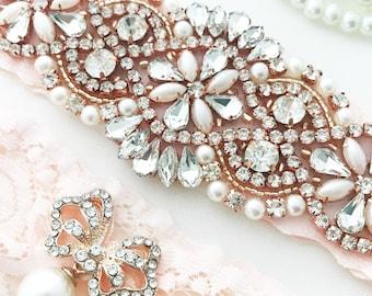 Rose Gold Garters For Wedding, Rose Gold Blush Garter Belt, Blush Garter Set, Wedding garters, Garter Belts, Blush Garters for wedding