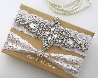 White wedding garter, white bridal garter, white bridal garter belt, wedding garter belt, rhinestone garter set, garter set