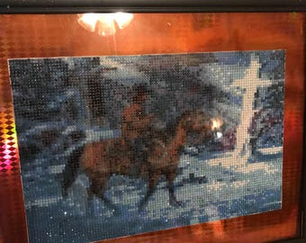 Cowboy And Horse Diamond Painting Western Scene Cross In Winter Passing