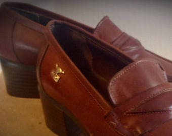 Vintage 1990 Womens loafers / leather genuine Brown/size 8 M / JOE SANCHEZ, Spain