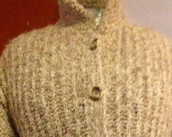 Vintage wool Virgin/Mr. POODLE 1960/Cardigan/sheer / made in Yarmouth, NS/knit loop / jacket pure wool/Wool Sweater
