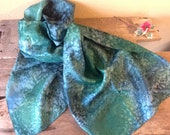 Rolland FORGUES pure silk scarf unisex vintage Japanese technique green camaïeu wide format 70 quot x18 quot
