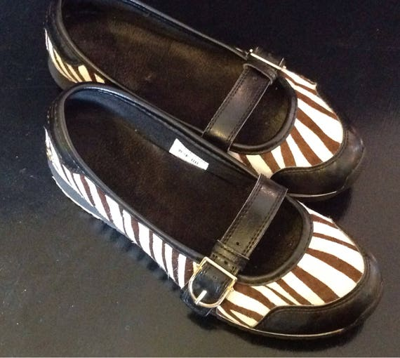 8dc59a9631382 Shoes Mary Jane FOX® for women / vintage 1990/loafers sport skin  cowhide/size 8 US/pattern Zebra/insoles comfort.